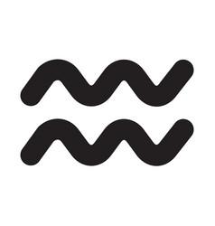 Flat black aquarius sign icon vector
