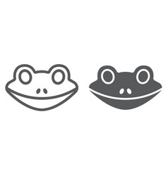 frog line and glyph icon animal and zoo vector image
