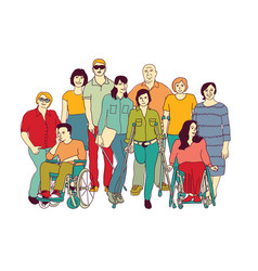 Group people community with disabilities color vector