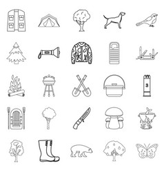 habitat of animals icons set outline style vector image
