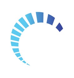 Half circle loading swoosh design on blue color vector
