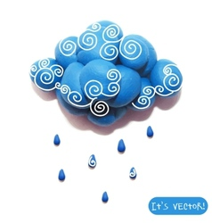 Icon of plasticine cloud vector