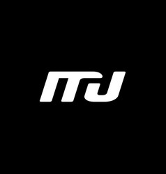 initial letter m j logo template with square line vector image