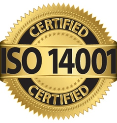 ISO 14001 certified golden label vector image