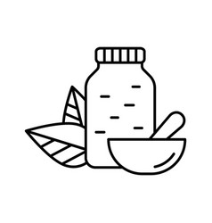 Jar with pills two leaves on back and mortar vector