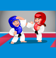Kids practicing taekwondo vector