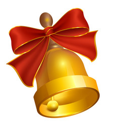 last golden bell and red bow vector image
