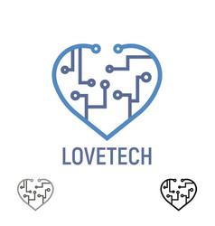 logo love tech heart technology concept design vector image
