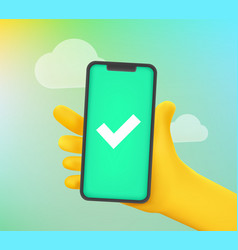 Man holding smartphone with green screen comic 3d vector