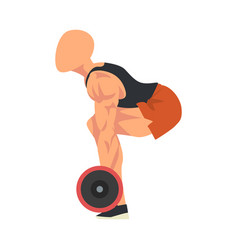 Man squatting with barbell side view male vector