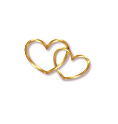 Marriage rings two golden interlocking hearts vector