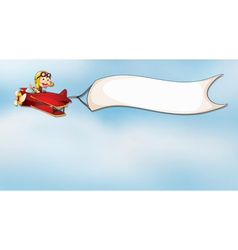 Monkey flying in aircraft with flag vector