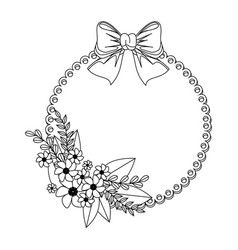 monochrome contour with circular frame with floral vector image