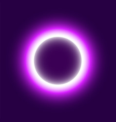 Neon abstract round eclipse of the sun vector