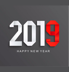new 2019 year greeting paper card vector image