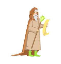 old wizard holding magic staff colorful fairy vector image