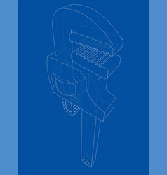 Outline adjustable wrench vector