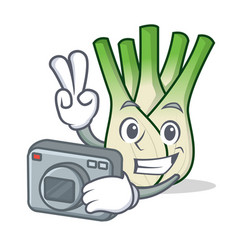 photographer fennel mascot cartoon style vector image