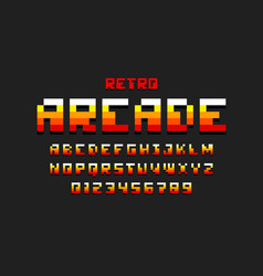pixel retro arcade game style 80s font vector image