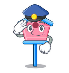 Police cartoon little bird house in spring vector