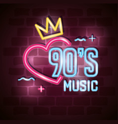 Poster nineties music with heart and crown of vector