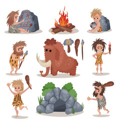 prehistoric stone age set primitive people stone vector image