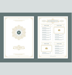 restaurant menu design and logo brochure vector image