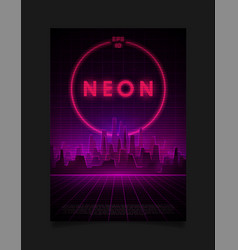 Retrowave cityscape with laser grid glowing neon vector