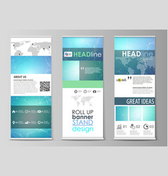 Roll up banner stands geometric design templates vector