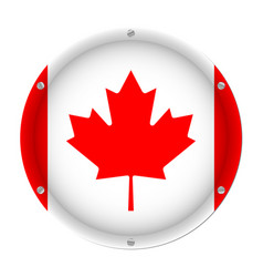round metallic flag of canada with screws vector image