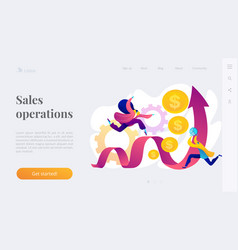 Sales growth landing page template vector