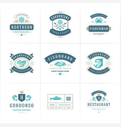 Seafood logos or signs set vector