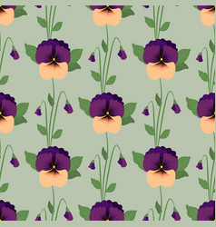 Seamless pattern with pansy flowers vector