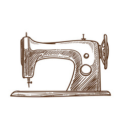 seamstress tool sewing machine isolated sketch vector image