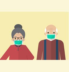 Senior man and woman wearing medical masks vector