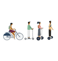 Set characters on bike scooter e-scooters vector