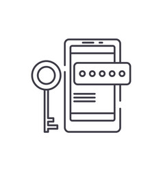 smartphone security line icon concept smartphone vector image