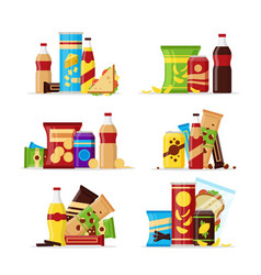 snack product set fast food snacks drinks nuts vector image