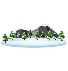 Snow covered tree and moutain scene vector