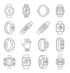 sport fitness tracker icon set outline style vector image