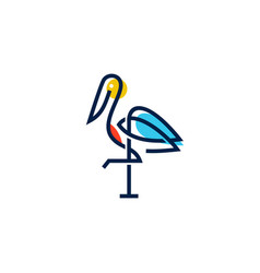 stork logo colorful line art monoline outline vector image