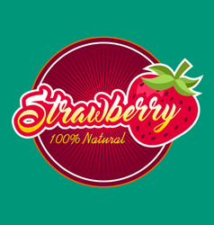 strawberry fruit label vector image