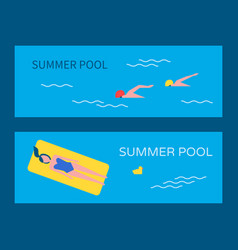 summertime pool posters set vector image