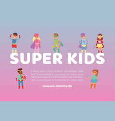 superhero kids in costumes web vector image