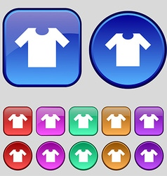 T-shirt icon sign A set of twelve vintage buttons vector