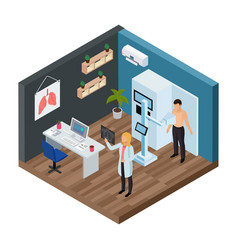 Tuberculosis prevention isometric concept vector