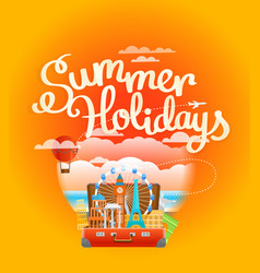 vacation travelling composition summer holidays vector image