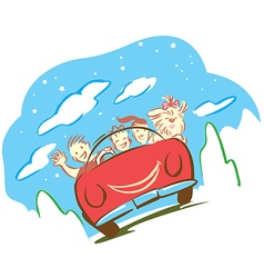Family and dog travel with car in holiday vector image vector image