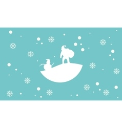 Scenery snowman and santa silhouettes vector