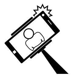 selfie monopod stick symbol with smartphone with vector image
